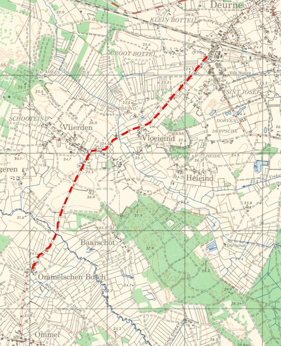 Centre line of battalion's advance from Ommel to Deurne, via Vlierden.