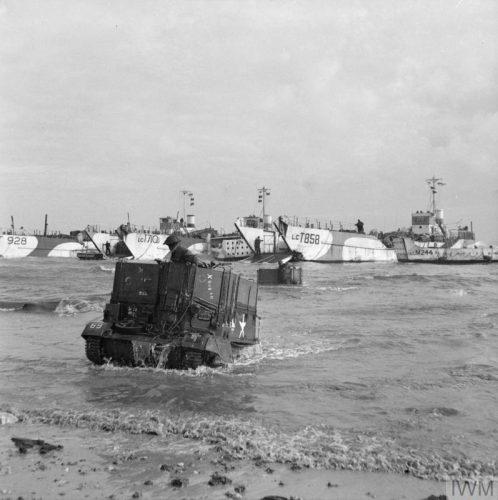 Waterproofed Bren gun carrier wading ashore on D-Day, Gold Beach.
