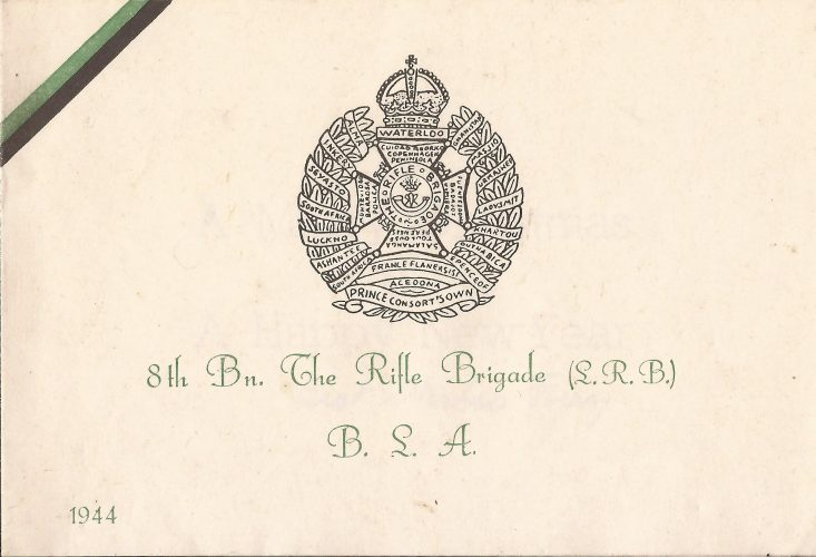 8th Rifle Brigade Christmas Card 1944 - 1/2 - editor's collection