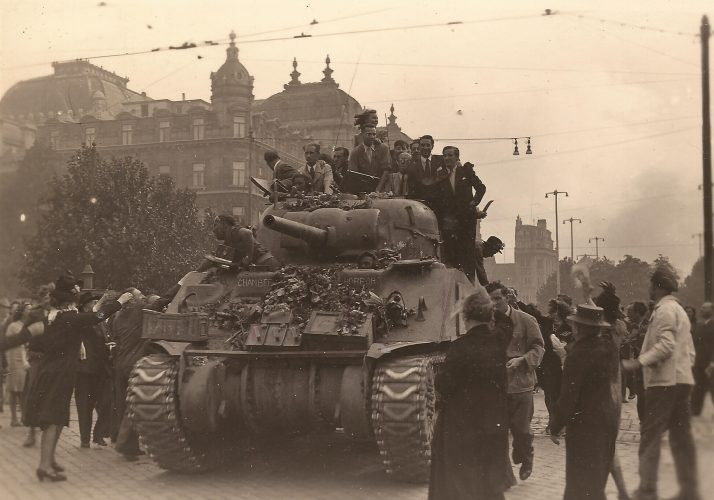 23rd Hussars' Sherman in front of Antwerp Opera house - editor's collection