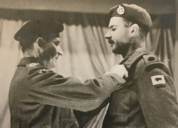 Major (black on dark green crown) Cunliffe, OC F Company, receiving his MC from Field-Marshall Montgomery - Maj. Cunliffe coll.