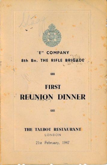 E Coy Reunion Dinner menu, 1947 - Rfn. Ayres collection