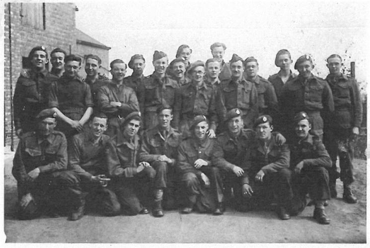 N050 - E Coy group. Rfn. Heron, kneeling 2nd from left, Rfn. Batkin, standing 2nd from right - Rfn. Batkin collection