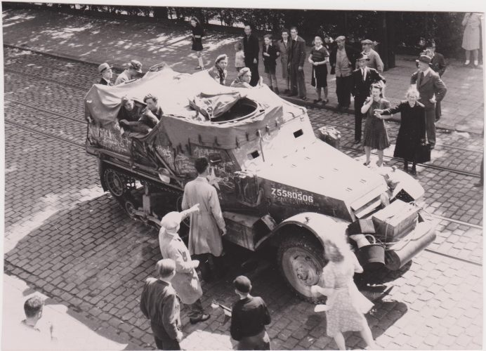 8th Rifle Brigade half-track, possibly H Company, Antwerpsestraat, Mortsel - Harkness collection