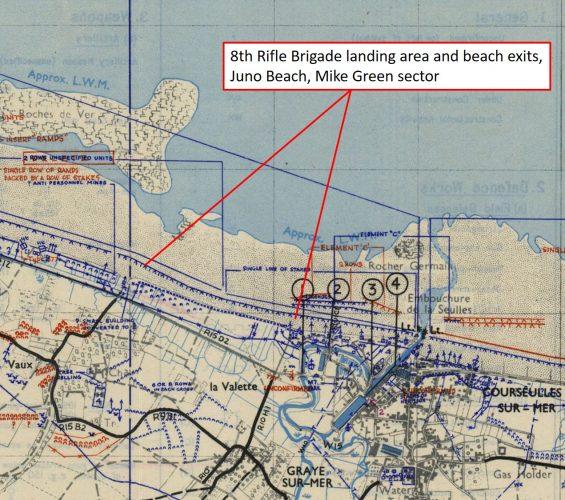 8th Rifle Brigade landing area near Graye sur Mer, Juno Beach, Mike Green sector.