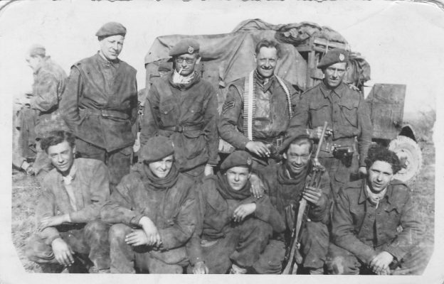 N005 - Members of 9 Platoon, G Company. Front row far right: Rfn. John Petrie, 2nd from right Rfn. Eric Patience - Petrie collection