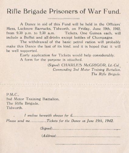 2MTB Tidworth, Dance invitation 19 June 1942 - Jeltes collection