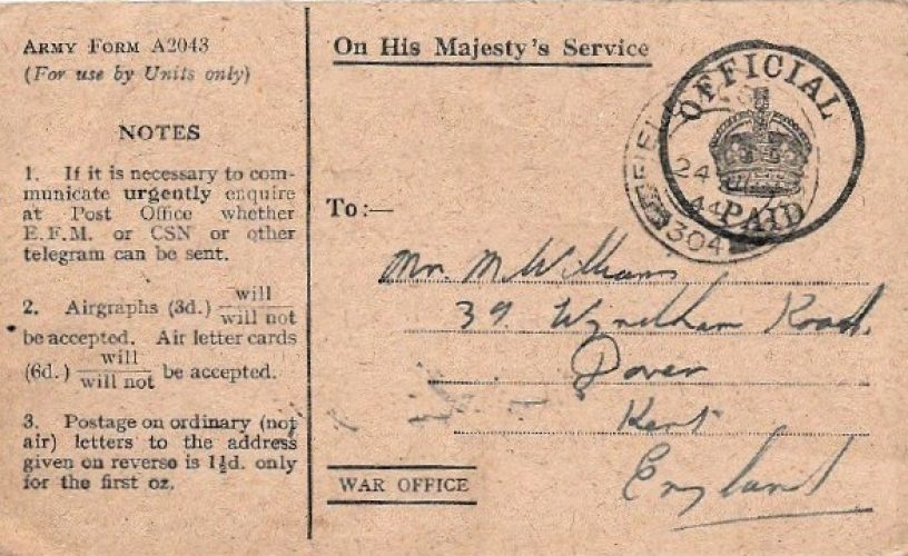 24 June 1944, Notification on new postal adress, 11 days after landing in Normandy - Rfn. Williams collection