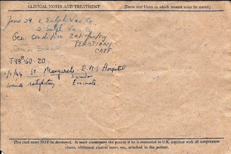 29 June 1944, 'Field Medical Card' - Rfn. Williams collection