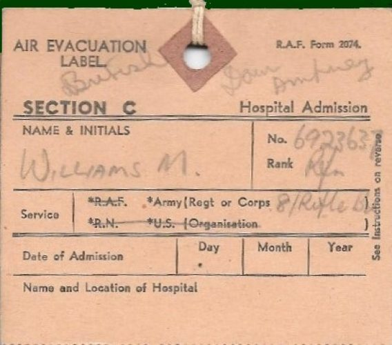 30 June 1944, 'Air evacuation label' - Rfn. Williams collection