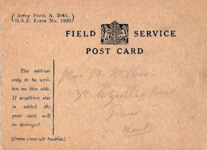 30 June 1944, First message to family: 'Have arrived in U.K.' - Rfn. Williams collection