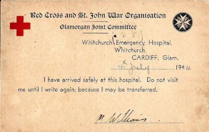 4 July 1944, Hospital Redirection Card, moved to Cardiff - Rfn. Williams collection