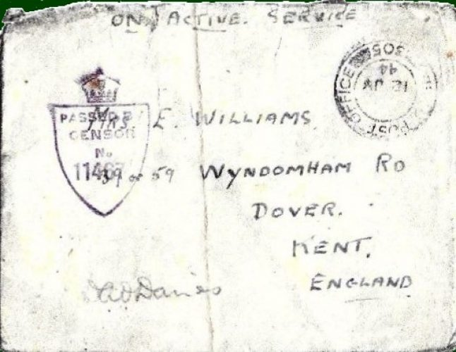 10 July 1944, Letter from Platoon members, by 'Crunchy' Crisp. Envelope and letter signed (censored) by Lt. Davies - Rfn. Williams collection