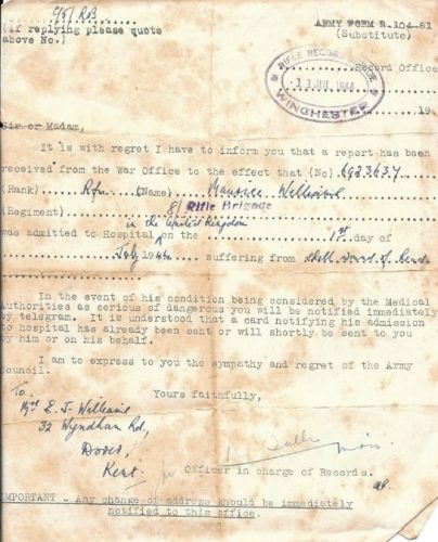 11 July 1944, Official notification of Rfn. Williams being wounded, by Rifle Record Office - Rfn. WIlliams collection