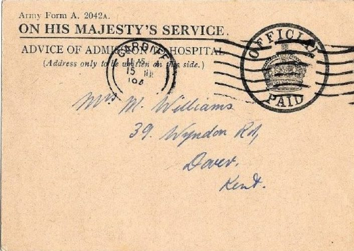 15 July 1944, Hospital Redirection Card, moved to Pembroke - Rfn. Williams collection